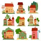 Colección de casas lindas de la historieta en estilo del niño Imagenes de archivo