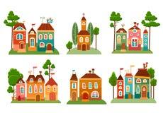 Colección de casas lindas de la historieta en estilo del niño Fotografía de archivo libre de regalías