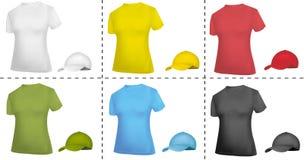 Colección de casquillo y de modelos de la camiseta (mujeres). Fotos de archivo libres de regalías