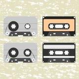 Colección de cassettes audios retros Imagen de archivo libre de regalías