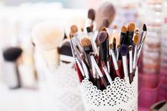 Colección de cepillos profesionales del maquillaje Imagenes de archivo