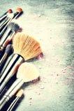 Colección de cepillos profesionales del maquillaje Imagen de archivo libre de regalías