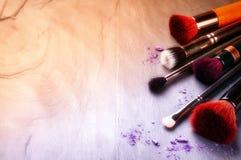 Colección de cepillos profesionales del maquillaje Foto de archivo libre de regalías