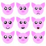 Colección de cerdo Smiley Faces aislada en el fondo blanco Diversas emociones Vector Illustation para su diseño, juego, tarjeta stock de ilustración