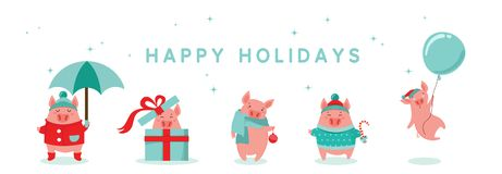 Colección de cerdos lindos del invierno Nuevo 2019 años feliz Símbolo del año en el calendario chino Historieta del vector aislad