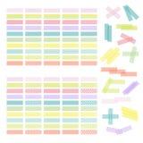Colección de cinta adhesiva o de etiquetas engomadas colorida Sistema del washi t stock de ilustración