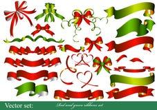 Colección de cintas rojas y verdes para el diseño Fotografía de archivo