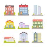 Colección de ciudad colorida plana del vector y de casas rurales Imágenes de archivo libres de regalías