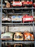 Colección de coches viejos y oxidados del pedal para el niño Fotografía de archivo libre de regalías