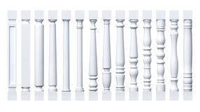Colección de columnas blancas, pilastras, balaustres Fotos de archivo libres de regalías