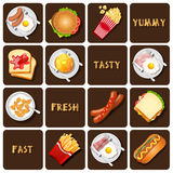 Colección de comida y de bocado Fotos de archivo