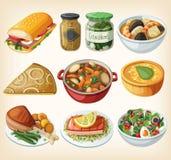 Colección de comidas francesas tradicionales de la cena Foto de archivo