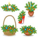 Colección de composiciones originales y ramos de ramas de árbol de navidad S?mbolo tradicional del A?o Nuevo Adornado con ilustración del vector