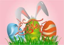 Colección de conejito de pascua y huevo y letras ilustración del vector