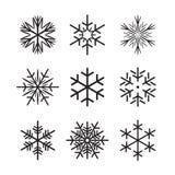 Colección de copos de nieve negros Ilustración del vector Fotografía de archivo libre de regalías