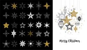 Colección de copos de nieve, estrellas, decoraciones de la Navidad, ejemplos dibujados mano ilustración del vector