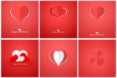 Colección de corazones de la papiroflexia Día de tarjetas del día de San Valentín feliz Imágenes de archivo libres de regalías