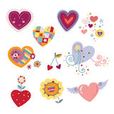 Colección de corazones decorativos stock de ilustración