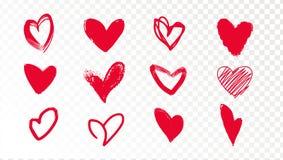 Colección de corazones rojos del garabato en un fondo transparente ilustración del vector