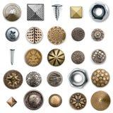 Colección de costura de los botones del metal del vintage fotos de archivo