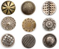 Colección de costura de los botones del metal del vintage imagenes de archivo