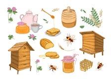 Colección de cualidades de la producción, de la apicultura o de la apicultura de la miel - panal, colmenas de madera, cazo, abeja Libre Illustration