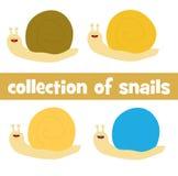 Colección de cuatro caracoles lindos de la historieta Imágenes de archivo libres de regalías