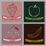 Colección de cuatro etiquetas del sabor de la fruta - ejemplo del vector Imagen de archivo