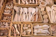 Colección de cucharas de madera Fotos de archivo