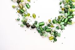 Colección de cuentas de cristal verdes Fotos de archivo libres de regalías