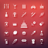 Colección de cumpleaños, jubileo, día de fiesta, celebrando iconos del partido Siluetas blancas con las sombras aisladas en fondo Fotos de archivo