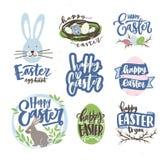 Colección de deletreado de Pascua manuscrito con la fuente caligráfica cursiva y adornado por los huevos, ramas del gatito-sauce libre illustration