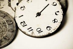 Colección de diales de reloj viejos Imágenes de archivo libres de regalías