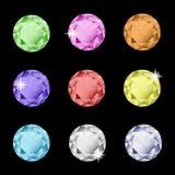 Colección de diamantes artificiales multicolores ilustración del vector