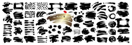Colección de dibujo de los cepillos de la mano negra de la tinta aislada en el fondo blanco libre illustration