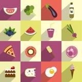 Colección de dieta y de comida gorda stock de ilustración