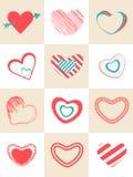 Colección de diversa forma de los corazones Fotos de archivo