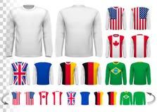 Colección de diversas camisas con mangas largas masculinas ilustración del vector