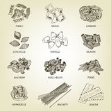 Colección de diversas clases de macarrones Imagen de archivo libre de regalías