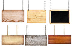 Colección de diversas muestras de madera con la cadena en el backgroun blanco Fotografía de archivo libre de regalías