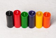 Colección de diversas velas de los colores Imagen de archivo libre de regalías