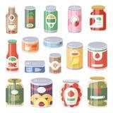 Colección de diverso colmado del envase del metal de la comida de los alimentos enlatados de las latas y de etiqueta plana de alu Fotos de archivo
