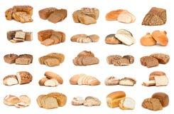 Colección de diverso pan sobre el fondo blanco Foto de archivo libre de regalías