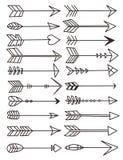 Colección de diversos ejemplos exhaustos formados de las flechas de la mano del vector ilustración del vector