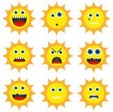 Colección de 9 diversos emoticons en forma del sol Foto de archivo libre de regalías