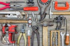 Colección de diversos herramientas, instrumentos y accesorios para el hou Fotos de archivo
