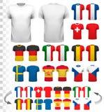Colección de diversos jerséis de fútbol La camiseta es transparente stock de ilustración