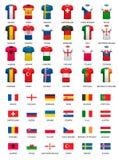 Colección de diversos jerséis de fútbol y banderas de países libre illustration