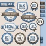 Colección de divisas y de escrituras de la etiqueta libre illustration