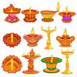 Colección de diya adornado para el fondo feliz del día de fiesta de Diwali stock de ilustración